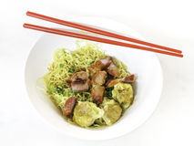 Egg noodle with barbecue pork Royalty Free Stock Image