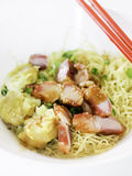 Egg noodle with barbecue pork Stock Image