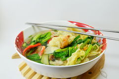 Egg noodle with barbecue pork and wanton in the soup Royalty Free Stock Images
