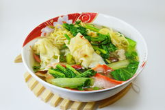 Egg noodle with barbecue pork and wanton in the soup Stock Photo