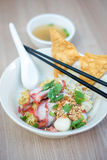 Egg noodle with bbq pork. Royalty Free Stock Image