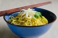 Egg Noodle with Bean Sprout In Bowl. Egg noodle is the famous Chinese food its easy to enjoy eating Royalty Free Stock Photography