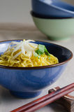Egg Noodle with Bean Sprout In Bowl. Egg noodle is the famous Chinese food its easy to enjoy eating Stock Image