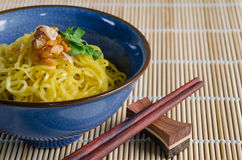 Egg Noodle In Bowl. Egg noodle is the famous Chinese food its easy to enjoy eating Stock Photo