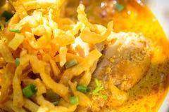 Egg Noodle in Chicken Curry (Kao Soi Kai ) Stock Photos