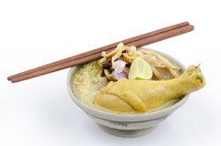 Egg Noodle in Chicken Curry (Kao Soi Kai thai name) Stock Image