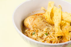 Egg Noodle with Chicken in Curry Soup Stock Photography