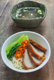Egg noodle with clear soup Stock Photos