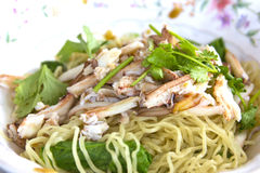 Egg noodle with crab mea Stock Images