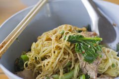 Egg noodle with crispy and roasted pork Royalty Free Stock Images