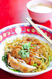 Egg noodle with fried chicken Stock Images