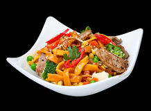 Egg noodle with lamb pieces Stock Photo
