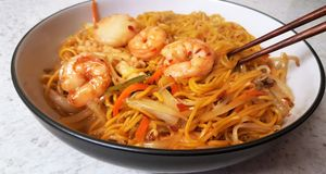 Egg noodle mixed seafood, close up. royalty free stock images