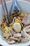 Egg noodle with pork ball dressing sweet soy sauce in bowl Royalty Free Stock Photos