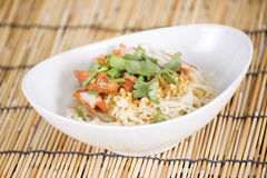Egg Noodle with roast chicken Stock Photography