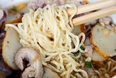 Egg noodle soup. Close up of egg noodle soup Stock Photos