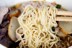 Egg noodle soup. Close up of egg noodle royalty free stock photos
