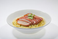 Egg noodle soup with pork Stock Images