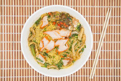 Egg noodle soup with red roast pork Stock Images