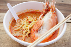 Egg noodle spicy soup with shrimp Stock Photo
