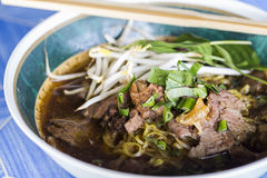 Egg noodle in thick soup with beef Stock Photography