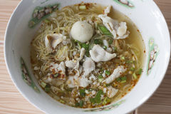 Egg noodle tom yum with pork Royalty Free Stock Images