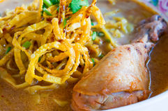 The Egg noodle and yellow curry with chicken Royalty Free Stock Images