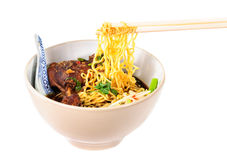 Egg noodles with pot-stewed duck Stock Photos