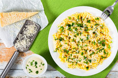 Egg noodles  with sauce of cream, butter, and grated cheese Stock Image