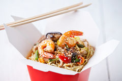 Egg noodles with shiitake, shrimp and pork Royalty Free Stock Photos