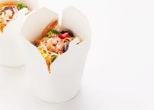 Egg noodles with shrimp and pork Stock Photos