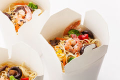 Egg noodles with shrimp and pork Stock Photo