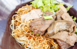 Egg noodles with Stewed Beef Royalty Free Stock Images