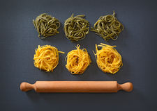 Egg noodles on the table Stock Image