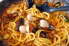 Egg Noodles With Seafood Stock Photography