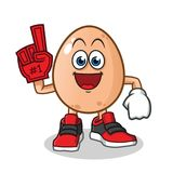 Egg number one fan mascot vector cartoon illustration. This is an original character royalty free illustration