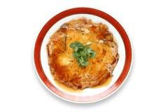 Egg o foo novo, omeleta chinesa com carne de caranguejo fotografia de stock royalty free