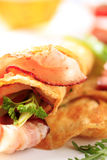 Egg omelet and bacon Royalty Free Stock Photography
