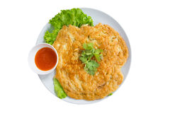 Egg omelet with chili sauce,clipping path Royalty Free Stock Images