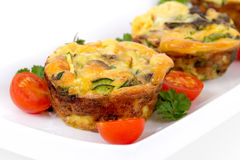 Egg omelet muffin cup dinner Stock Images