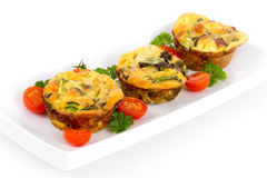 Egg omelet muffin cup dinner Royalty Free Stock Photography