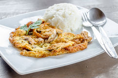 Egg omelet, Omelet Thai style with Rice - Traditional Thai Food Stock Photos