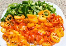 Diced vegetables sweet peppers Stock Photography