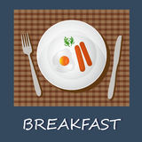 Egg omelet and sausages, breakfast concept, banner, vector illustration Stock Photos