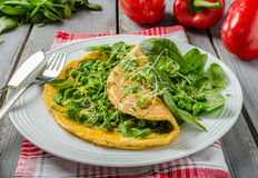 Egg omelette with herbs stock photography