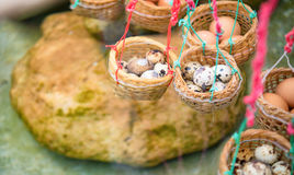 Egg Onsen hot spring steam boil eggs. Inside basket Stock Photography