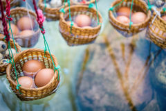 Egg Onsen hot spring steam. Boil eggs inside basket Stock Photo