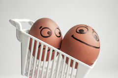 An egg with a painted face. Cute egg. Photo Royalty Free Stock Photography