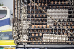 Egg pallets on truck. Transportation of agricultural. Stock Photography