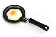 Egg pan. Fried egg in a frying pan Royalty Free Stock Images